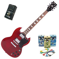 Encore Electric Guitar Cherry Red w Belcat 4 Pedal Blues Pack