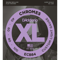 DAddario ECB84 Chromes Bass Guitar Strings Custom Light 40-100 Long