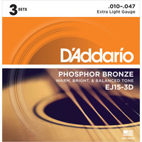 DAddario EJ15 Phosphor Bronze Extra Light 10-47 x 3 Pack